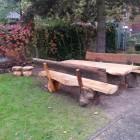 Gartenmöbel, Sitzganitur 2 x Bank, 1 x Tisch 2x Pilz